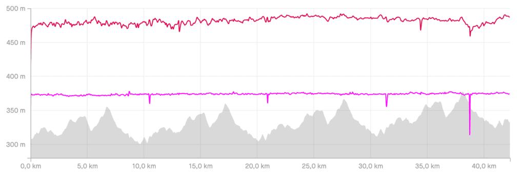 Marathon evaluatie - hartslag, hartslag, cadans, hoogteprofiel
