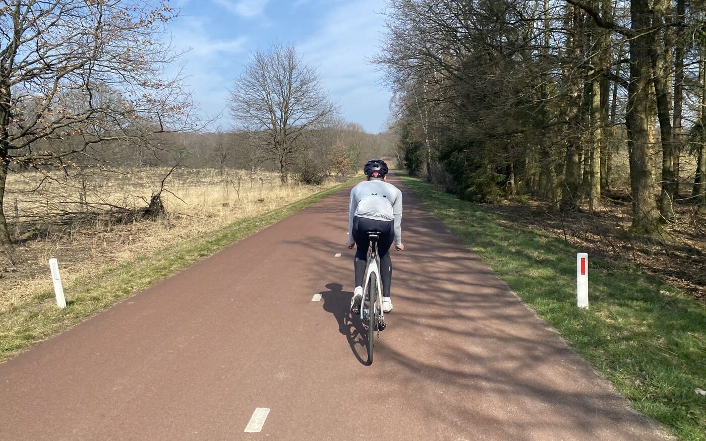 Cyclists on the disused road through the nature reserve 'Nationaal Park De Meinweg'.