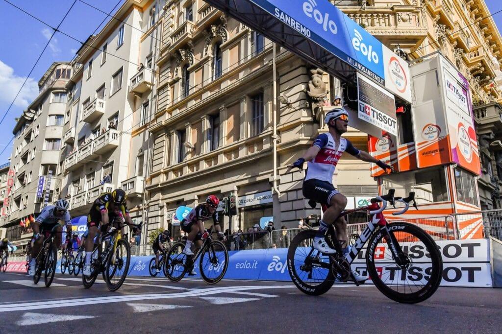 Finish - Jasper Stuyven (Trek - Segafredo) wins Milan SanRemo 2021 ahead of Caleb Ewan and Wout Van Aert