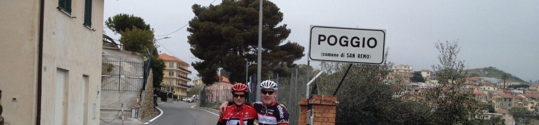 Cyclist Christoph Lörcks with Maro Engel at the famous Poggio di SanRemo